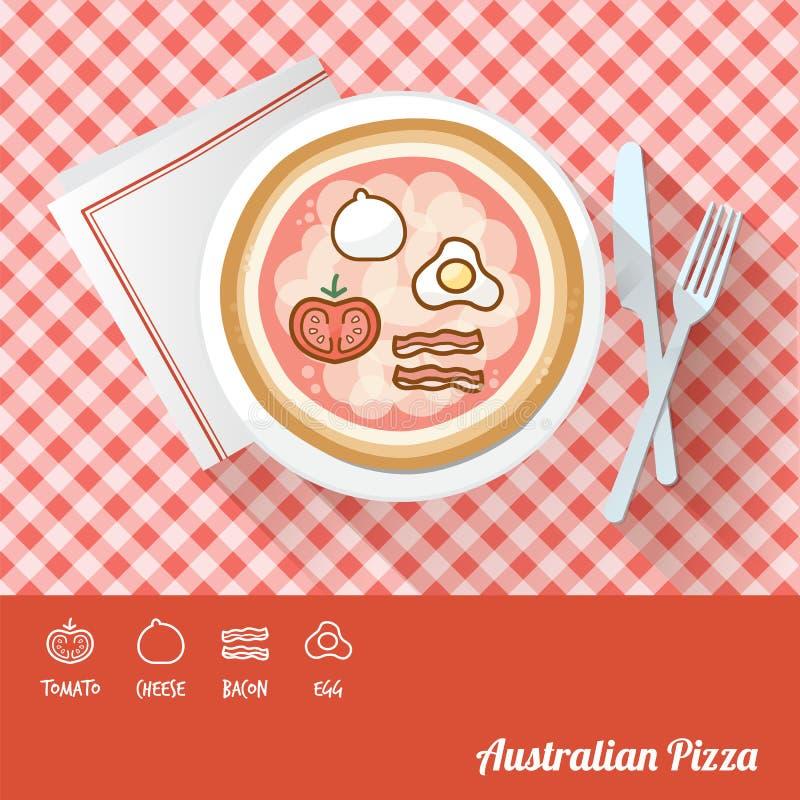 Pizza con los ingredientes stock de ilustración