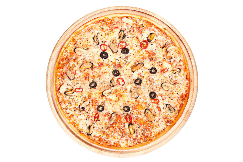 Pizza con los mariscos imagenes de archivo