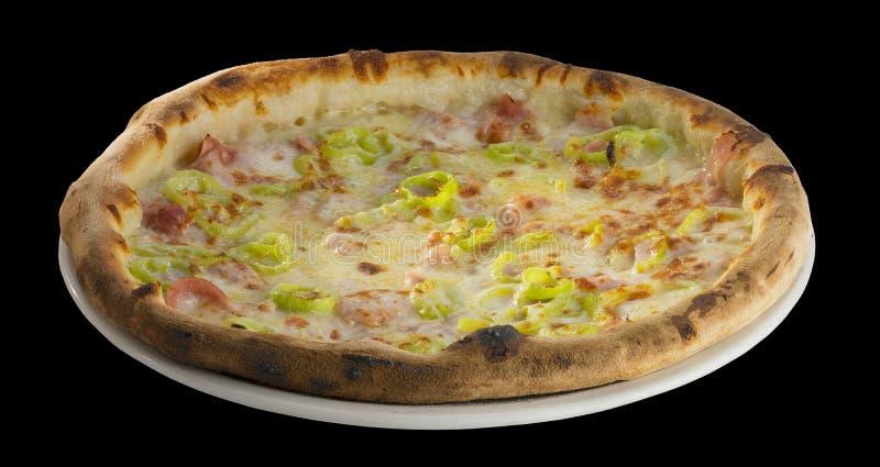 Pizza con salame, formaggio e peperone verde immagine stock