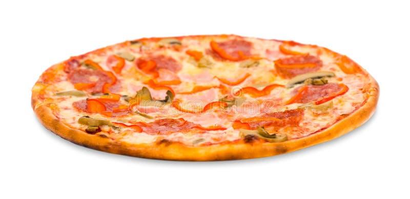 Pizza con tocino, el salchichón y las setas imagen de archivo
