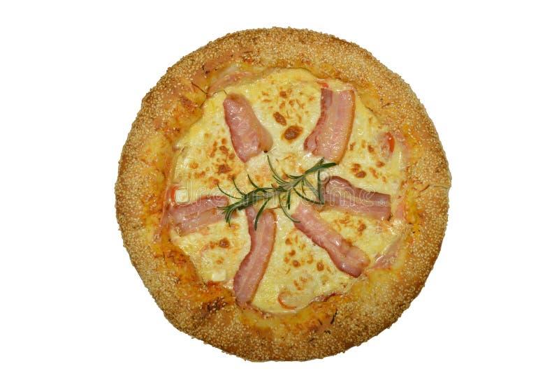 Pizza con tocino y queso imágenes de archivo libres de regalías