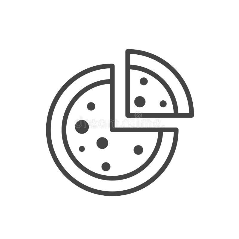 Pizza con un ejemplo separado rebanada del vector del icono Aislado en el fondo blanco libre illustration