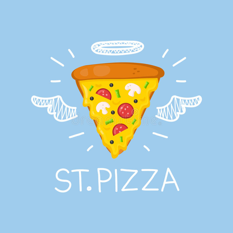 Pizza concept 'St. Pizza' with angel halo and wings. Flat and doodle vector illustration royalty free illustration