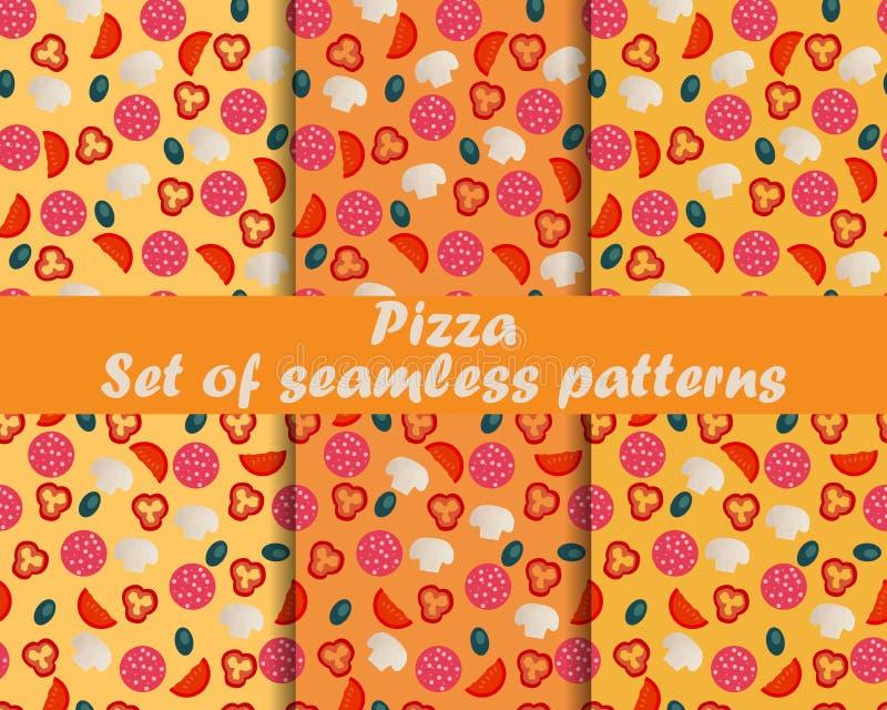 Pizza Conjunto de modelos inconsútiles Ingredientes para la pizza El modelo para el papel pintado, ropa de cama, tejas, telas, fo stock de ilustración