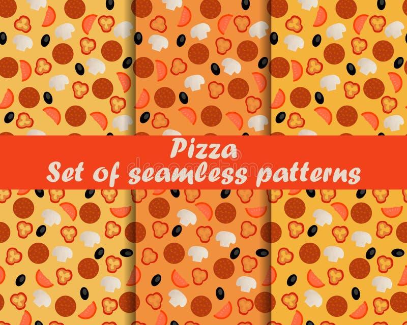 Pizza Conjunto de modelos inconsútiles Ingredientes para la pizza Ilustración del vector ilustración del vector