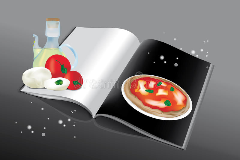 Pizza cookbook. Cookbook for pizza with ingredients and blank page for recipe and for all purposes stock illustration