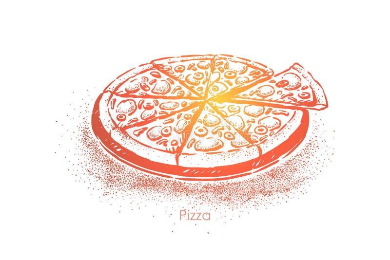Pizza cortada, comida rápida italiana tradicional, almuerzo sabroso, comida rápida, bocado delicioso de la forma redonda libre illustration