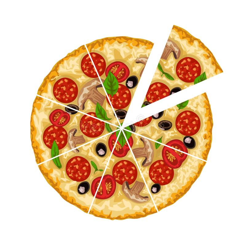 Pizza coupée en tranches sur le blanc illustration stock
