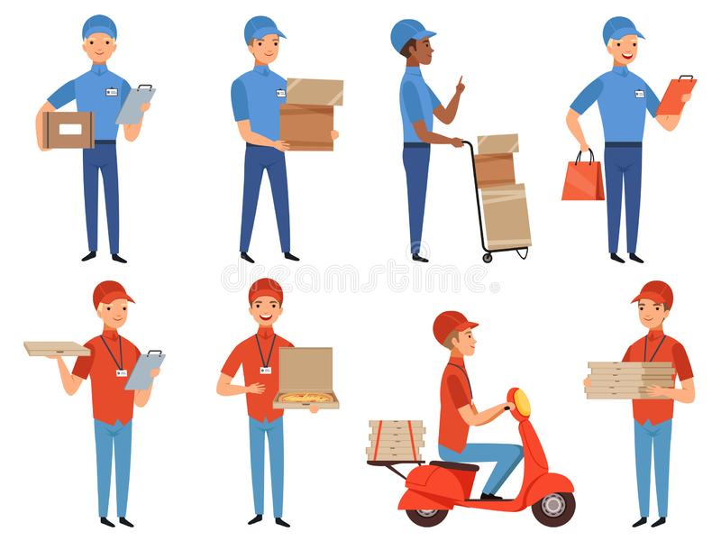 Pizza courier characters. Fast food deliver working in various action poses vector mascot design in cartoon style. Illustration of pizza service courier, fast royalty free illustration