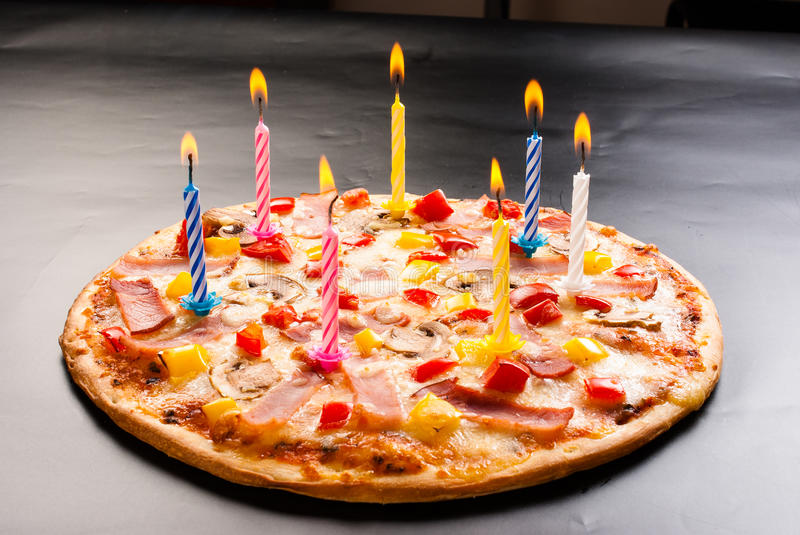 Pizza Creative With Candles Stock Image Image Of Italy