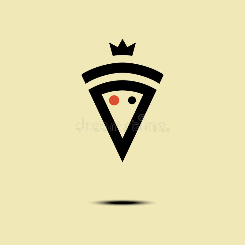 Pizza crowned vector minimalism style logo, icon, emblem, sign. Graphic design element with a slice of pizza. Pizza crowned vector logo, icon, symbol, emblem stock illustration