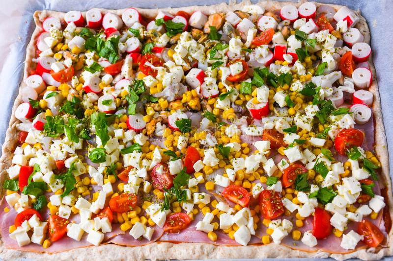 Homemade Raw Pizza With Colorful Vegetables And White Mozzarella Cheese Just Ready For The Oven Photo Stock Image Du Colorful Oven 146193138
