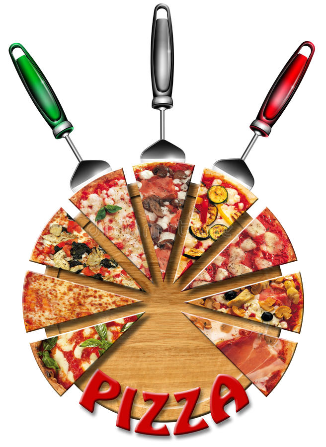 Pizza on the cutting board vector illustration
