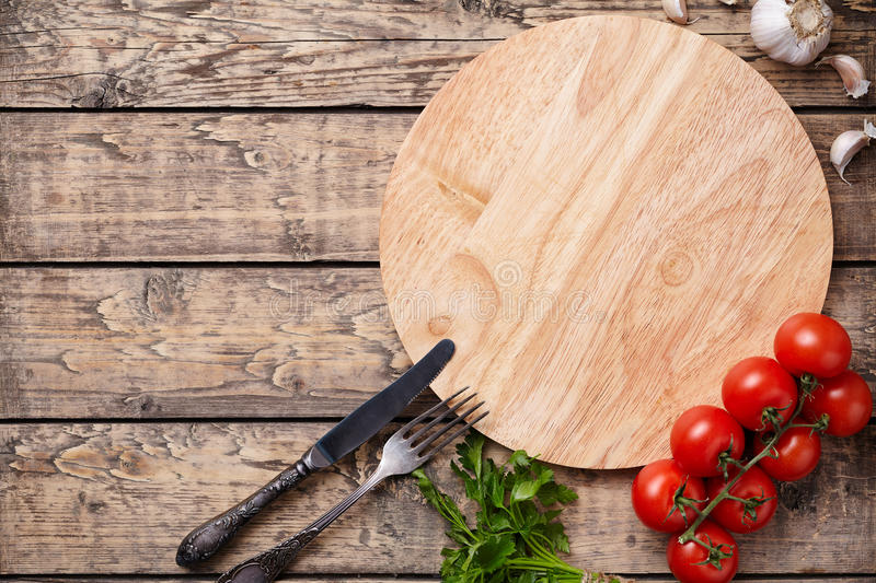 Pizza cutting board template with empty space for advertising design royalty free stock photo