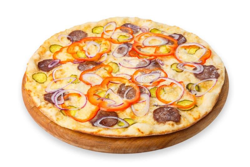 Pizza délicieuse aux oignons et au carpaccio photographie stock libre de droits