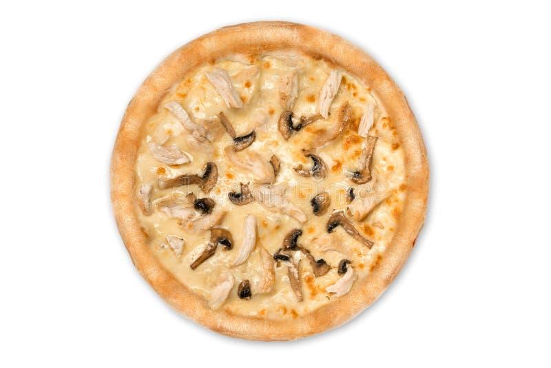 Pizza délicieuse avec le poulet, parmesan, tomates, champignons d'isolement pour le menu, vue supérieure photographie stock libre de droits