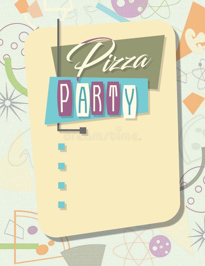 Pizza d'invitation de partie rétro illustration stock