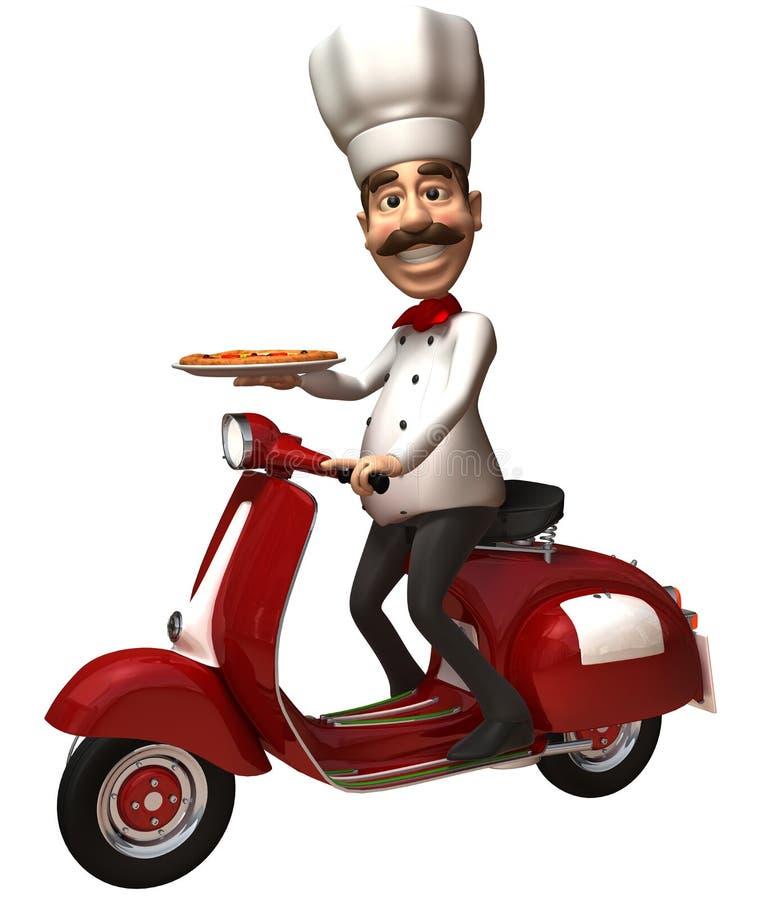 pizza d'Italien de chef illustration stock