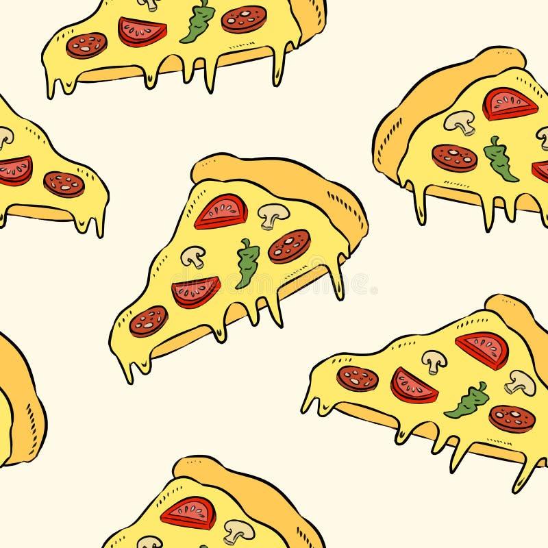 Pizza da tração da mão Fundo sem emenda do teste padrão da pizza da garatuja Teste padrão sem emenda do fast food ilustração do vetor