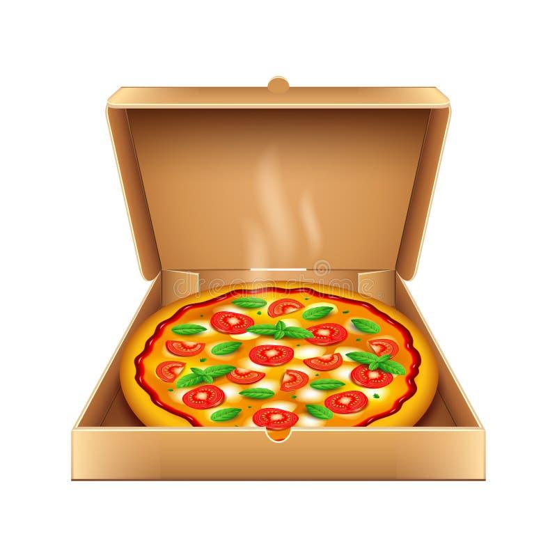 Pizza dans la boîte d'isolement sur le vecteur blanc illustration de vecteur