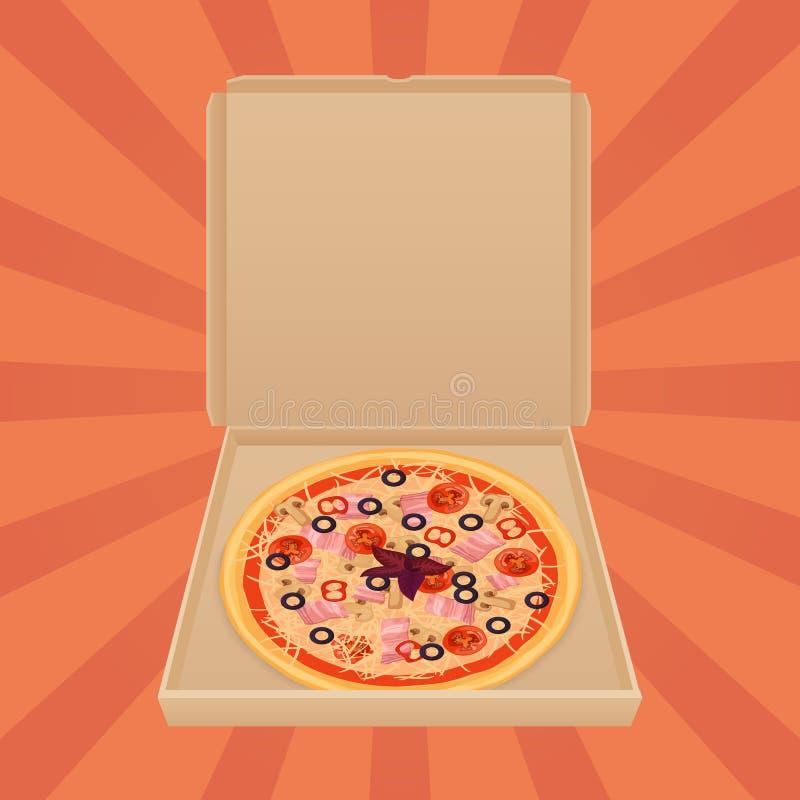 Pizza dans la boîte de papier Bannière de publicité de Web de service et de menu de métier de boîte de la livraison de pizza illustration libre de droits