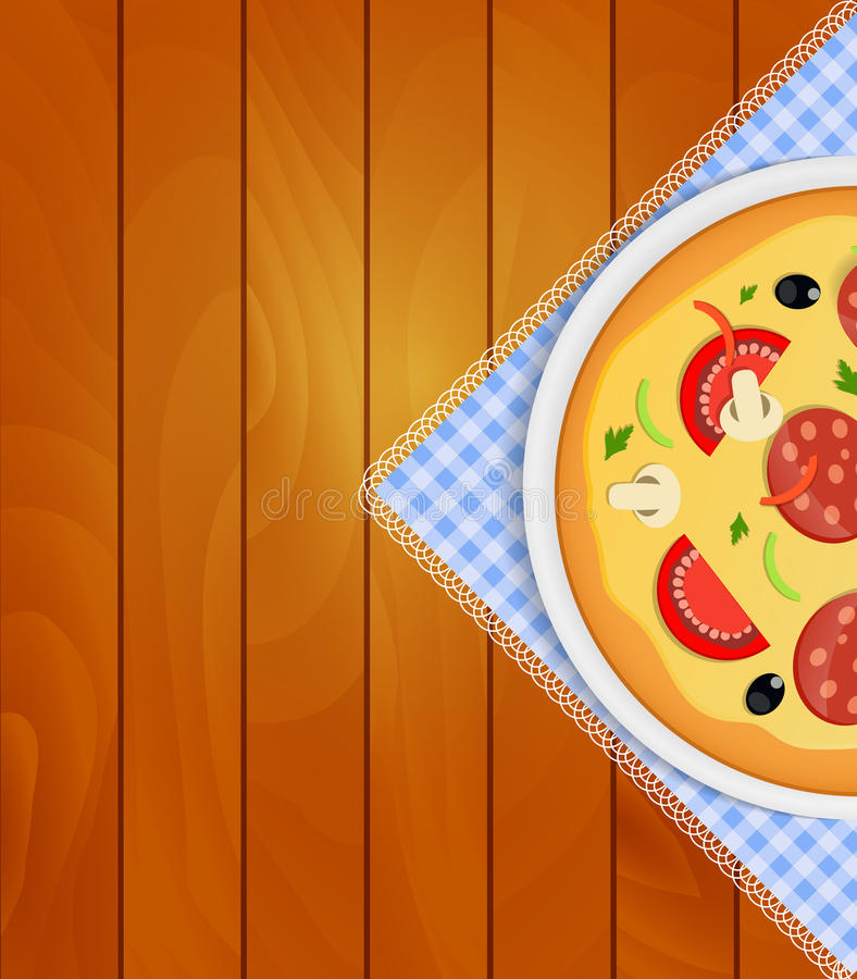 Pizza dans le plat blanc sur la serviette de cuisine aux conseils en bois Backgrou illustration stock