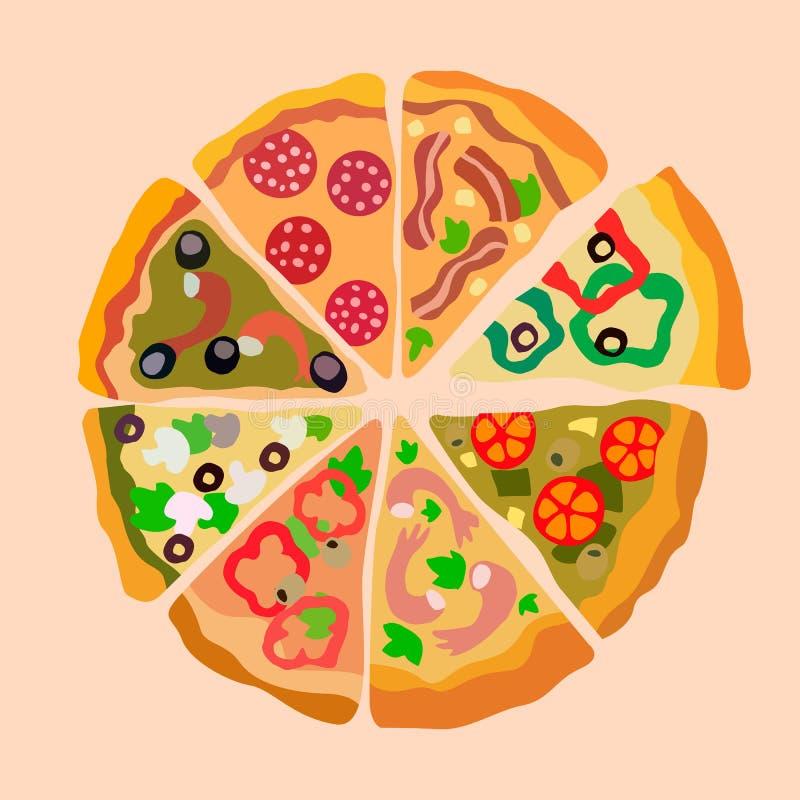 A pizza de Assorti corta a ilustração do vetor da cor ilustração royalty free