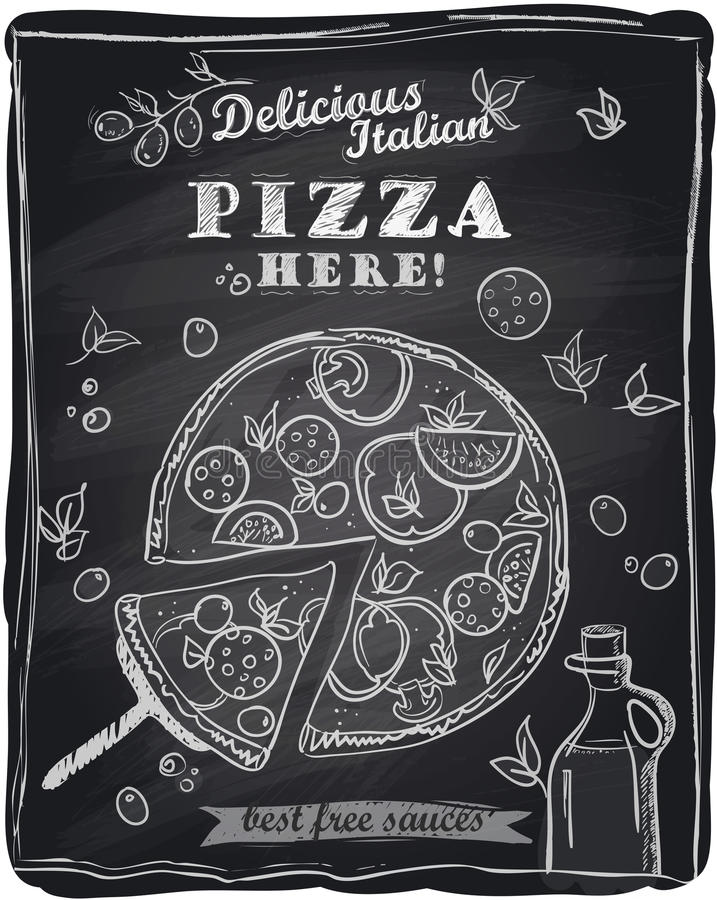 Pizza de craie avec la tranche découpée. illustration de vecteur