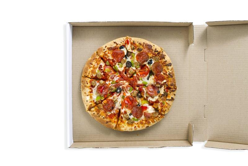 Pizza in de doos royalty-vrije stock afbeeldingen