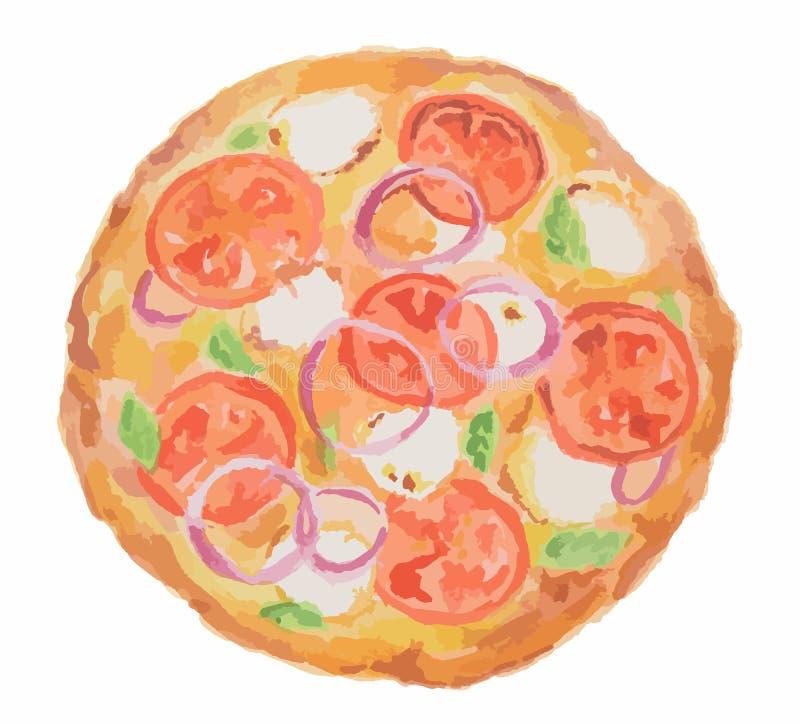 pizza de la acuarela ilustración del vector
