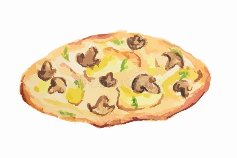 pizza de la acuarela stock de ilustración