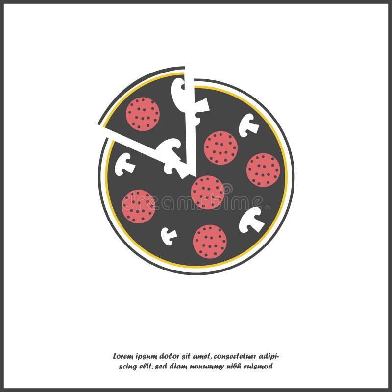 Pizza de la imagen del vector Alimentos de preparación rápida La rebanada de la pizza en el fondo aislado blanco Capas agrupadas  libre illustration