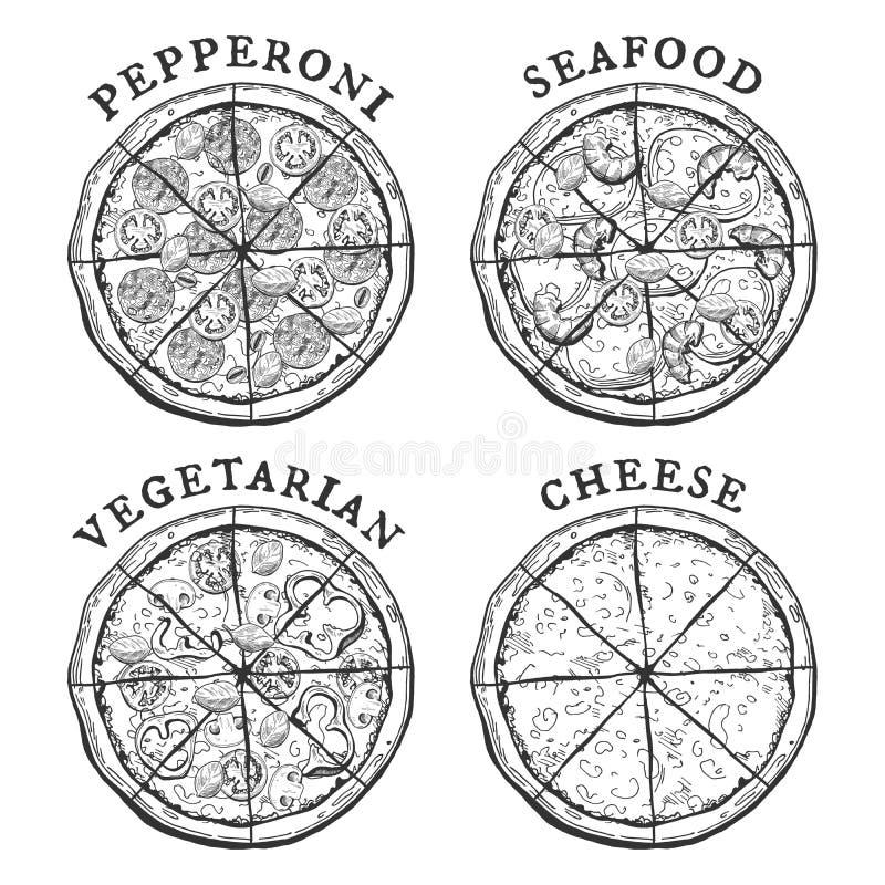 Pizza de los salchichones, de los mariscos, del vegetariano y de queso ilustración del vector