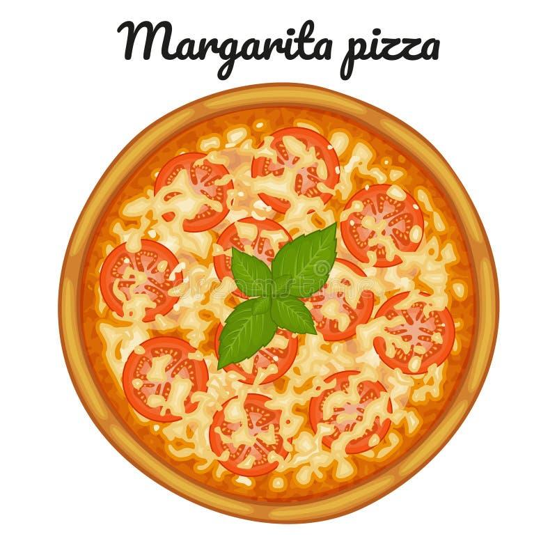Pizza de margarita avec des tomates Objet pour empaqueter, annonces, menu illustration libre de droits