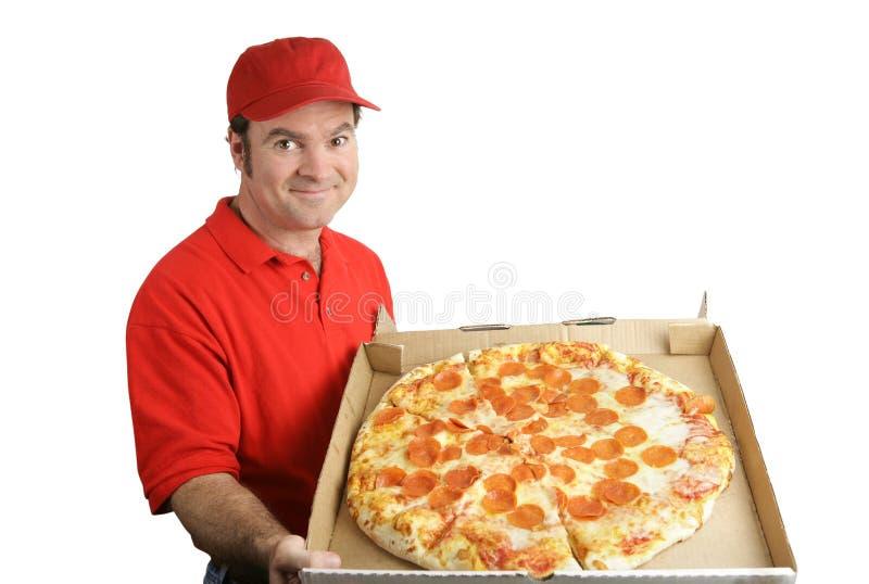 Pizza de pepperoni livrée images stock