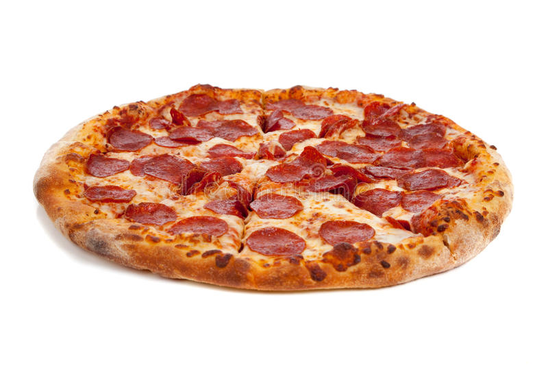 Pizza de pepperoni sur le blanc images libres de droits
