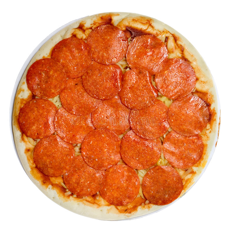 Pizza de pepperoni Uncooked fotos de stock royalty free