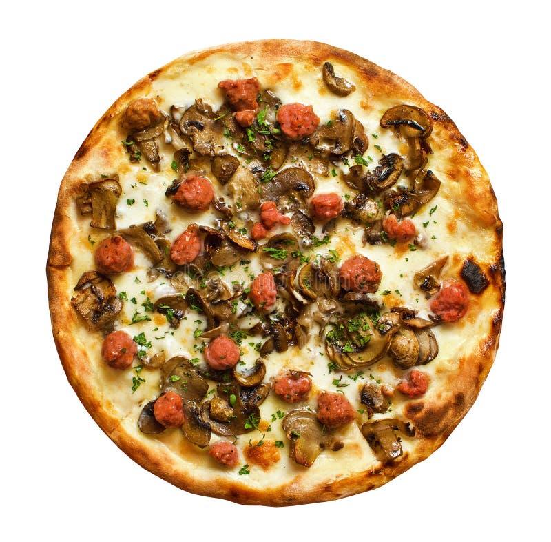 Pizza de salchicha fotos de archivo