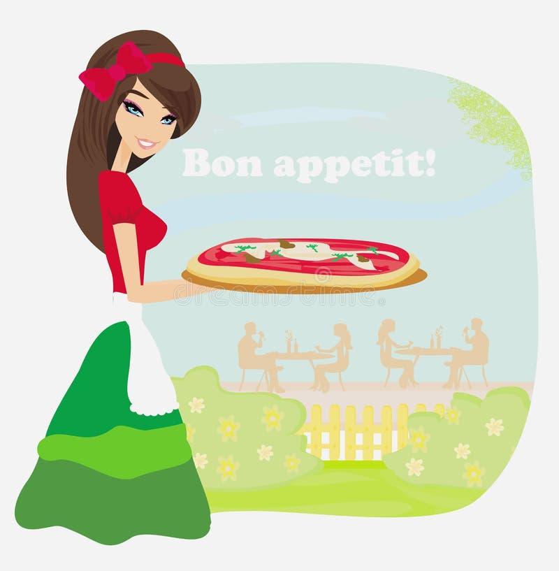 Pizza de sorriso do serviço da empregada de mesa ilustração royalty free