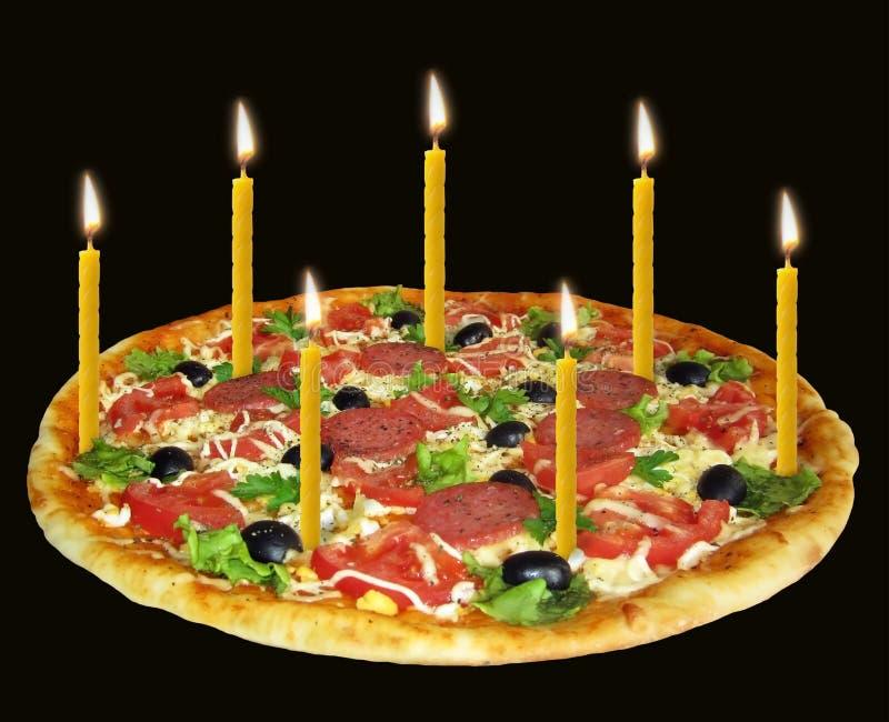 Pizza de vacances avec les bougies 2 images stock