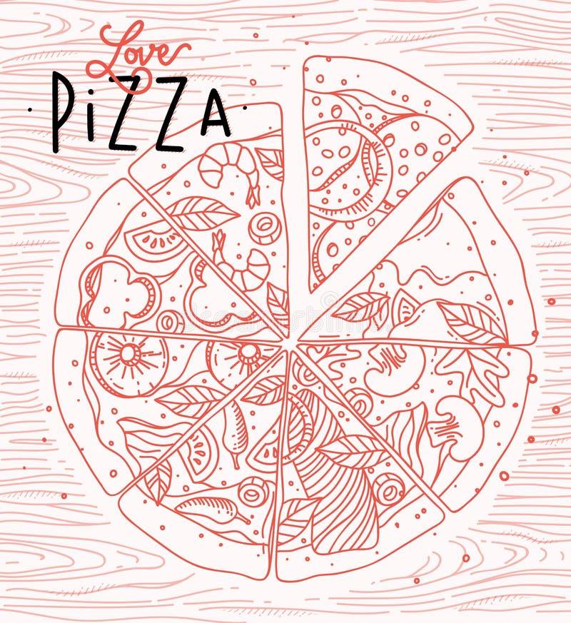 Pizza del amor del cartel ilustración del vector