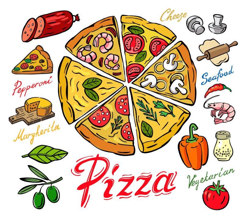 Pizza del color del vector libre illustration