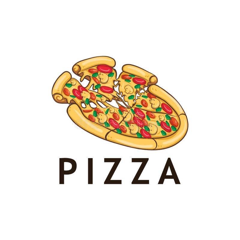 Pizza del ejemplo con el mashrom y la carne libre illustration