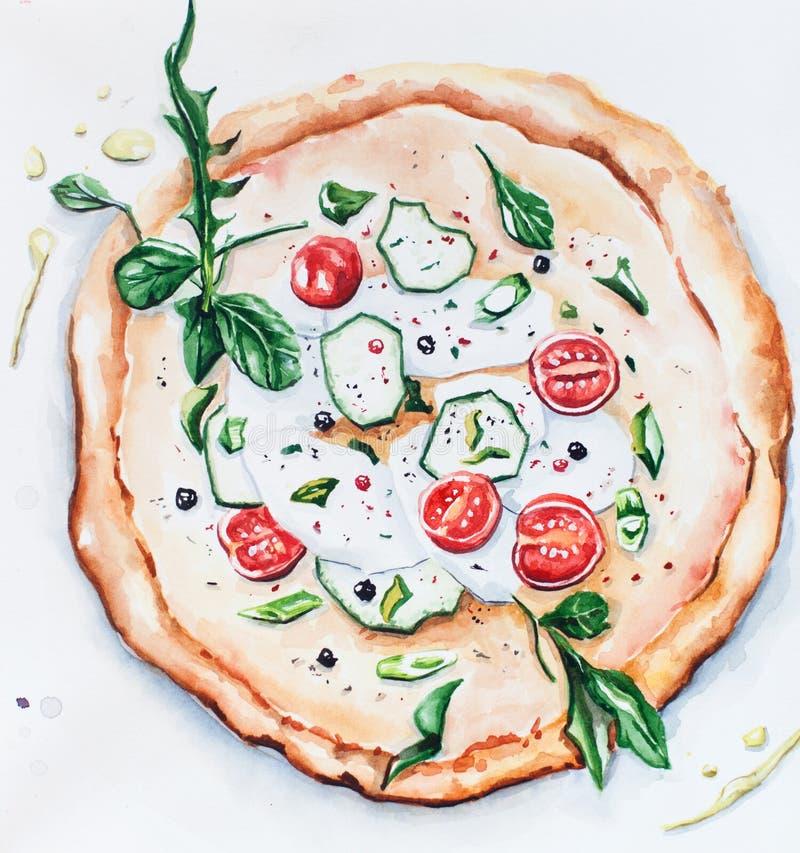 Pizza del ejemplo de la acuarela con queso ilustración del vector