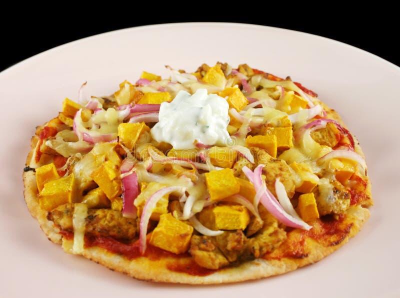 Pizza del gastrónomo de Tandoori   imagenes de archivo