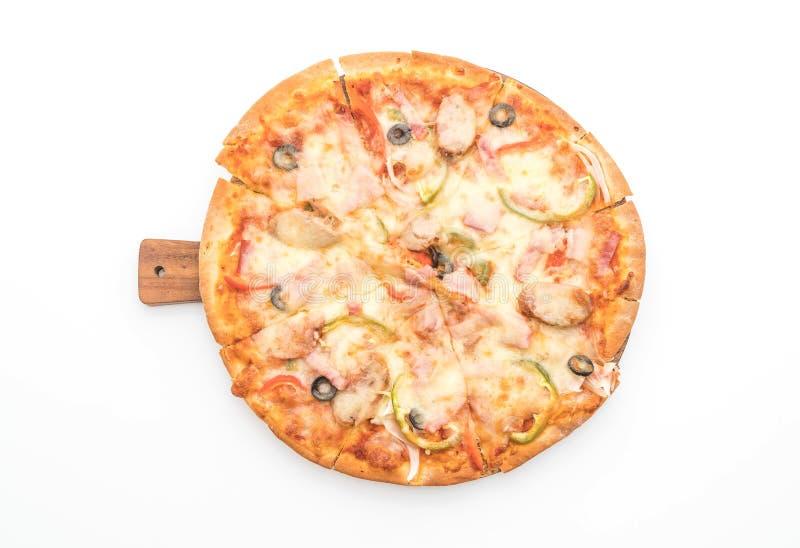 pizza del jamón y de salchicha fotos de archivo