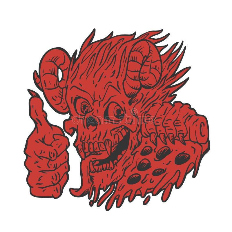 Pizza del lucifer del monstruo stock de ilustración