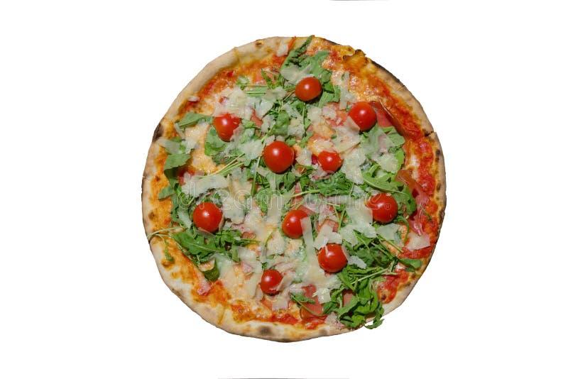 Pizza deliciosa na foto branca isolada do close up do fundo foto de stock royalty free