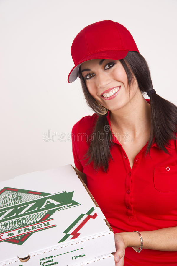 Download Driver Red Uniform Brings Food Pizza Delivery Stock Photos - Image: 21663423
