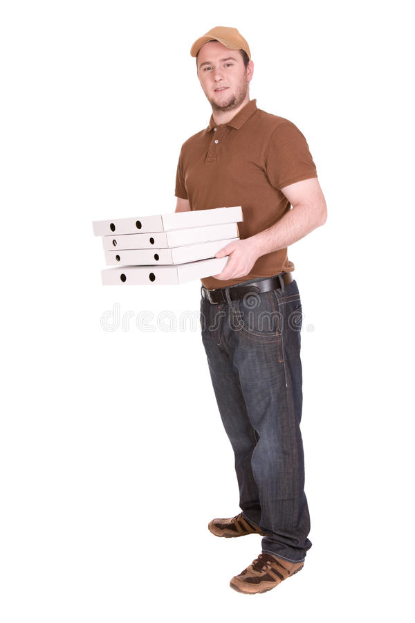 Pizza delivery. Happy man with pizza delivery. over white background royalty free stock photo